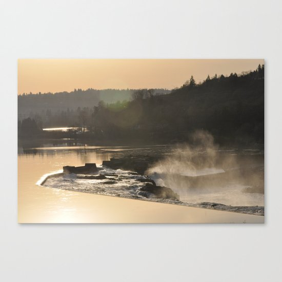 SUNSET OVER WILLAMETTE FALLS Canvas Print