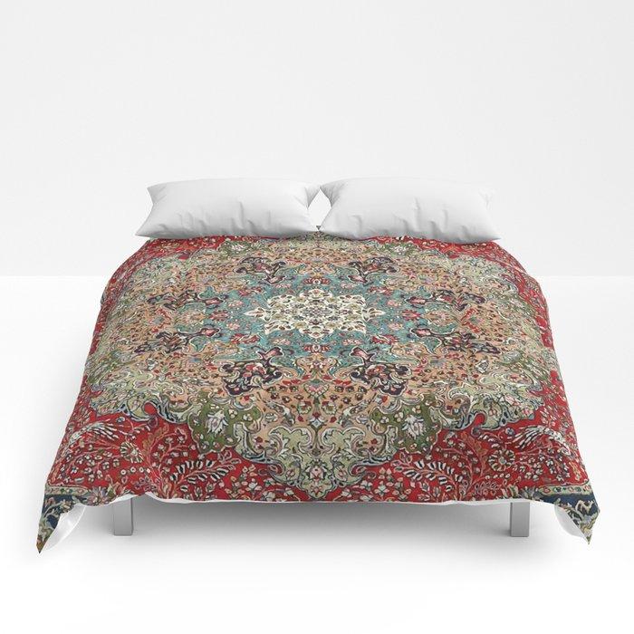 Antique Red Blue Black Persian Carpet Print Comforters
