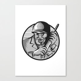 World War Two Soldier American Calling Radio Circle Etching Canvas Print