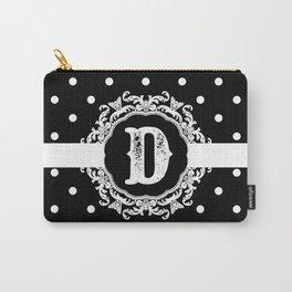 Black Monogram: Letter D Carry-All Pouch