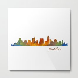Austin Texas, City Skyline, watercolor  Cityscape Hq v1 Metal Print