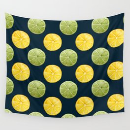 Watercolor Lemon Lime Pattern Wall Tapestry