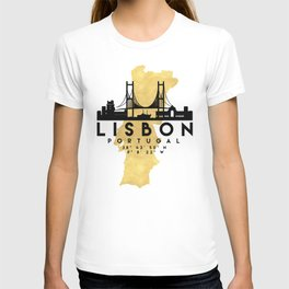 LISBON PORTUGAL SILHOUETTE SKYLINE MAP ART T-shirt
