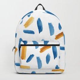 Artsy navy blue orange gold watercolor brushstrokes Backpack