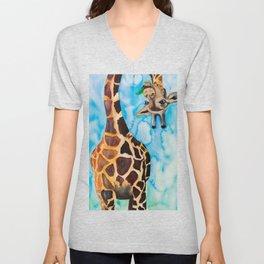 friendly giraffe Unisex V-Neck