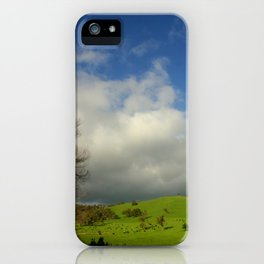 Green pastures & Incoming storm Clouds iPhone Case