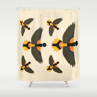 baltimore Shower Curtains featuring Baltimore Oriole  by Alysha Dawn