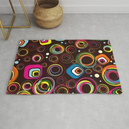Colorful Seamless Retro Circle Pattern Rug