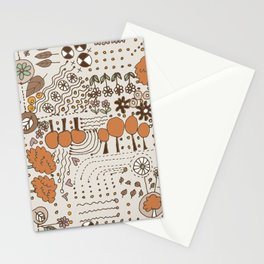 Ditsy Garden in brown Stationery Cards