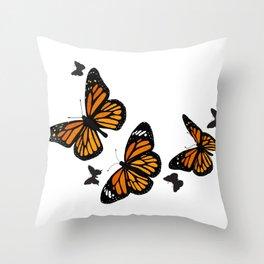 Vintage Monarch Butterflies in Flight Throw Pillow