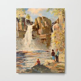Mid Century Modern Vintage Travel Poster England Landscape Rocky Waterfall Metal Print