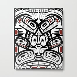Salish style Orca Raven Bear totem Formline Hiada first nations native american Metal Print