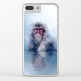 Macaque (Low Poly Ice Snow Monkey) Clear iPhone Case