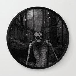 Wendigo Black and White Illustration Wall Clock