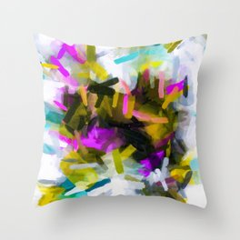 pink yellow blue black abstract painting background Throw Pillow