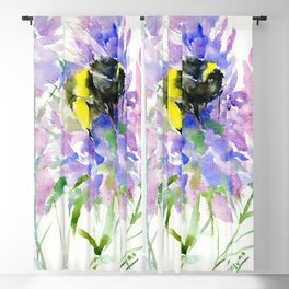 Bumblebee and Lavender Flowers, nature bee honey making decor Blackout Curtain