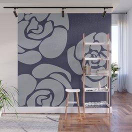White Roses on Blue II Wall Mural