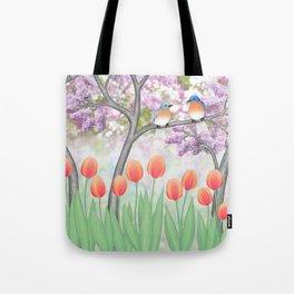 eastern bluebirds, tulips, & lilacs Tote Bag