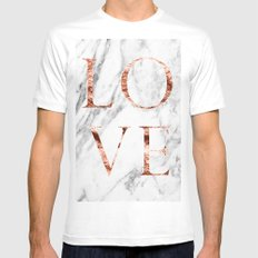 Rose gold marble LOVE White Mens Fitted Tee MEDIUM