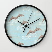dolphins Wall Clocks featuring dolphins by marella