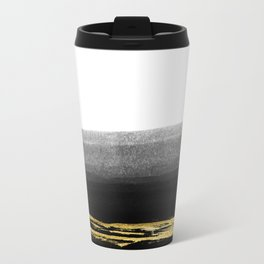 Black & Gold Stripes on White- Mix & Match with Simplicty of life Metal Travel Mug