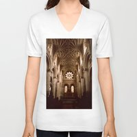 england V-neck T-shirts featuring Oxford, England by David Hohmann