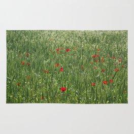 Poppy Field And Springtime Hay Meadow  Rug