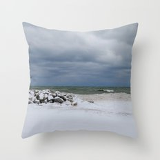 Cold front on Lake Michigan Throw Pillow
