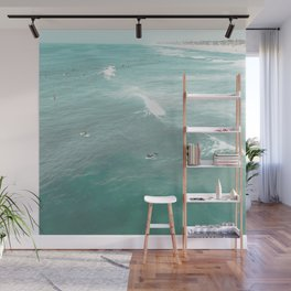 California Surf // Coastal Spring Waves Teal Blue and Green Ocean Huntington Beach Views Wall Mural
