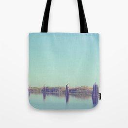 water and pilings Tote Bag