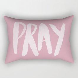 Pray Typography x Rose Rectangular Pillow
