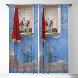 India Ceremony Altar - blue Wall  Blackout Curtain