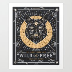 Wild & Free Wolf – Gold & Grey Art Print