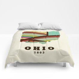 Ohio state map modern Comforters