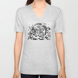I Whale Always Love You Painting Black and White by Christie Olstad Unisex V-Neck