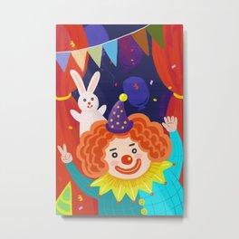 Happy Clown And Rabbit Metal Print