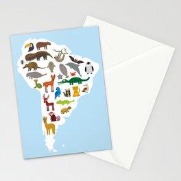 South America sloth anteater toucan lama bat fur seal armadillo boa manatee monkey dolphin Stationery Cards