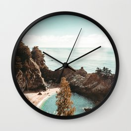 California Coast | Big Sur McWay Falls Coastal Camping Road Trip Tapestry Art Print Wall Clock