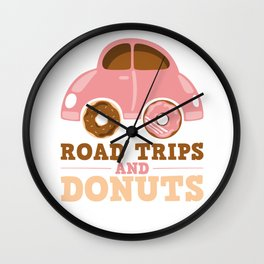 Road Trips And Donuts Wall Clock