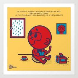 The Monkey and the Rain Art Print
