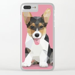 Low Poly Corgi. Clear iPhone Case