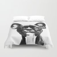 french bulldog Duvet Covers featuring French BullDog by Maioriz Home