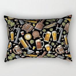 Beer Makes The World Go Round - Black Pattern Rectangular Pillow