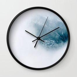 Minimal Art Blue Teal Secret Pine Forest Framed By White Fog Wall Clock