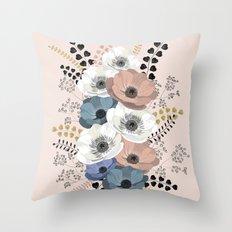 Anemones bouquet pink pastel Throw Pillow
