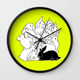 Black & White & Yellow Rabbits Wall Clock