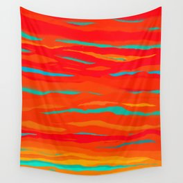 Ripped Turquoise Sunset Sky Wall Tapestry