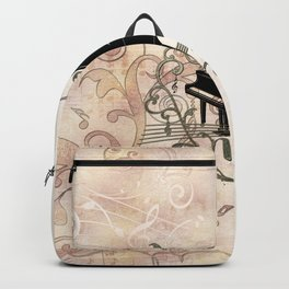 Music, piano with key notes and clef Backpack