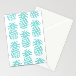 Retro Mid Century Modern Pineapple Pattern 731 Turquoise Stationery Cards