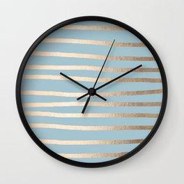Abstract Drawn Stripes Gold Tropical Ocean Sea Blue Wall Clock